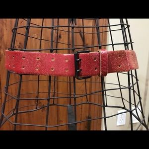 Vintage red distressed leather miu miu belt